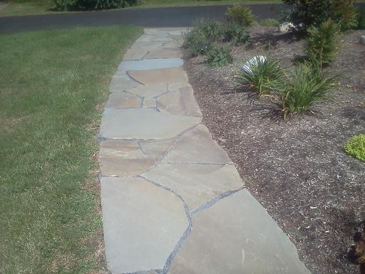 Natural Stone Hardscape. Flagstone Walkway. No Edging!