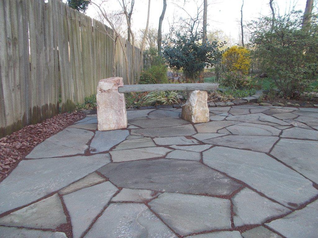 hardscaping stone bench