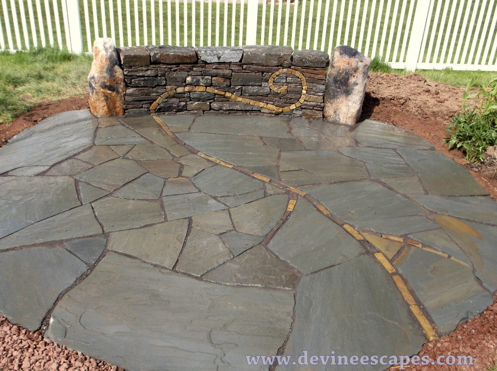 Spiral Patio And Wall Natural Stone Hardscape In Gilbertsville Pa