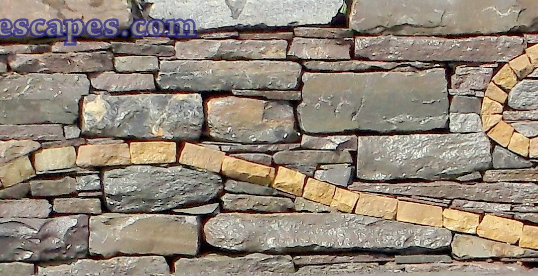 Flagstone Patio and Wall with fern Motif, Gilbertsville, PA