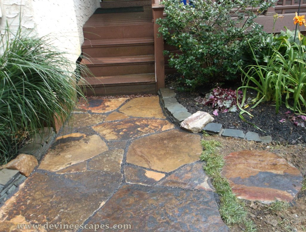 Flagstone walkways natural stone hardscape contractor for Flagstone designs