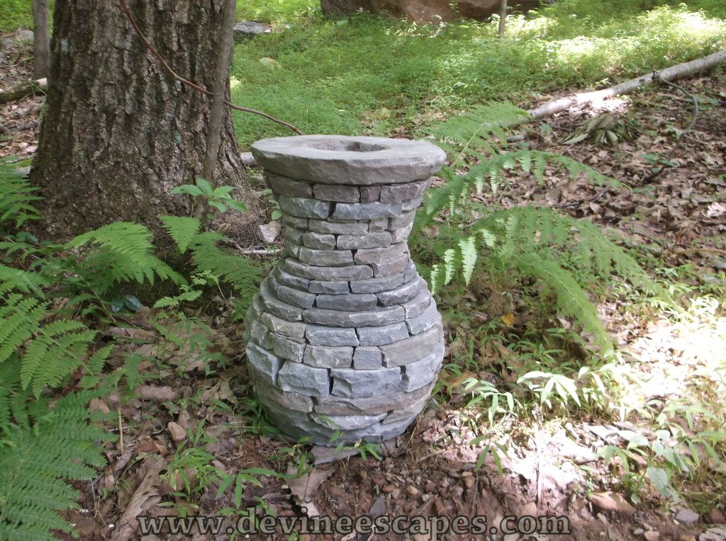 stacked stone vases for the garden