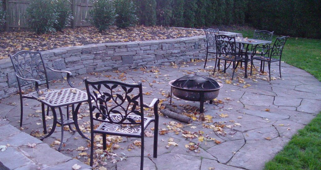 Abington Flagstone Patios and rock wall retaining