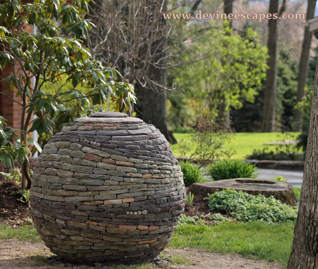 Dry Stone Sphere Garden Sculpture Building Process