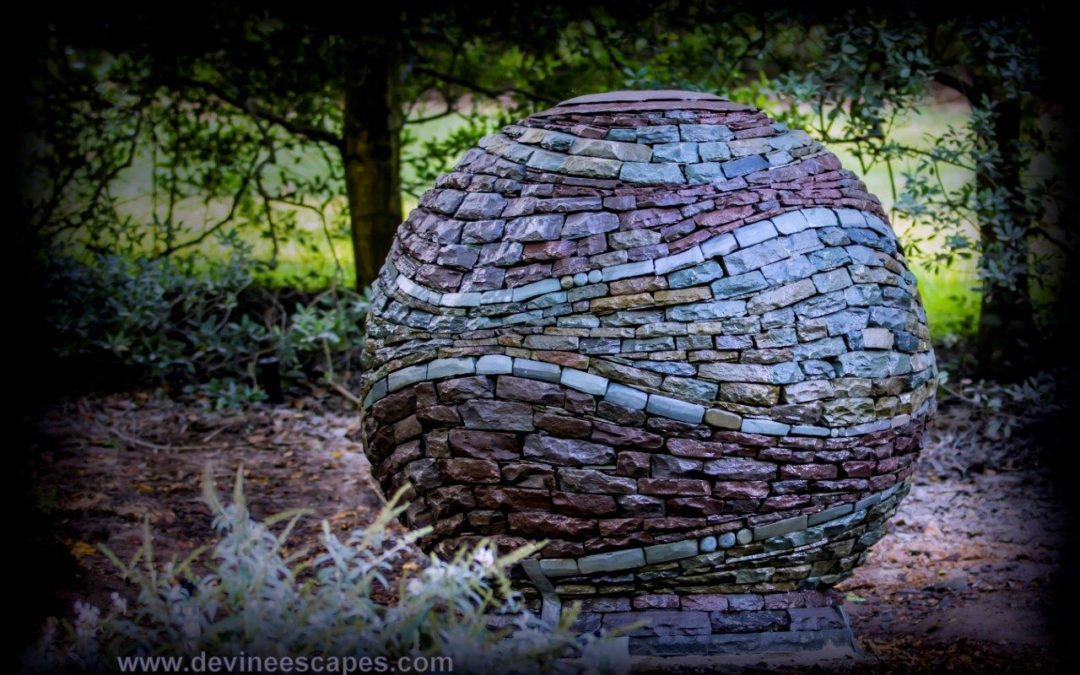 New Garden Sculpture, Stacked Stone Sphere at Brookside Gardens