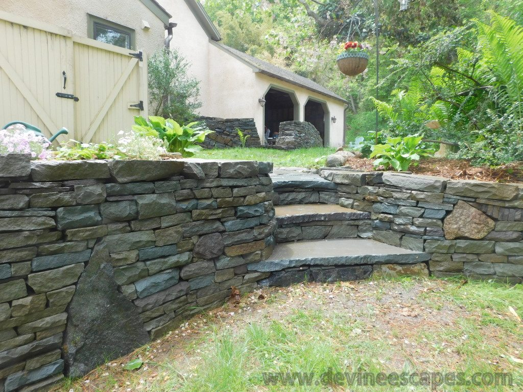 dry stone wall and steps in Chester Springs