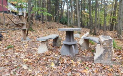 Stone table and stone benches for sale available now plus real branch cat trees/log shelves