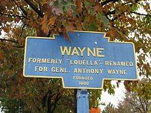 Wayne city sign at entry to Wayne